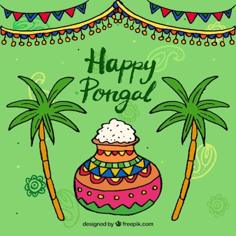 Hand-drawn pongal background with colorful pot
