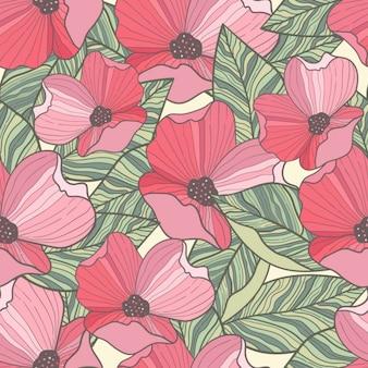 Hand drawn poppy background