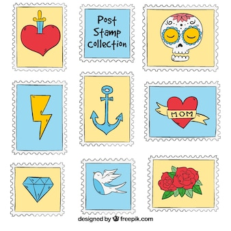 Hand-drawn post stamp collection