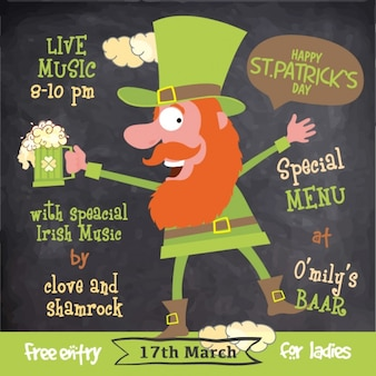 Hand-drawn poster with leprechaun for st patrick's day
