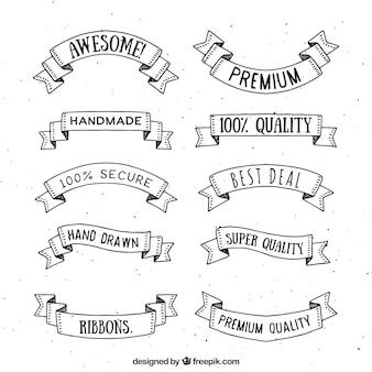 Hand drawn premium ribbon collection