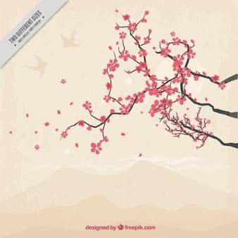 Hand drawn pretty cherry tree background