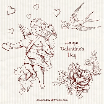Hand drawn pretty cupid and valentine elements