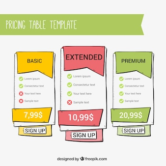 Hand drawn price templates