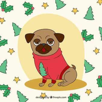 Hand drawn pug with christmas style