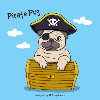 Hand drawn pug with pirate style