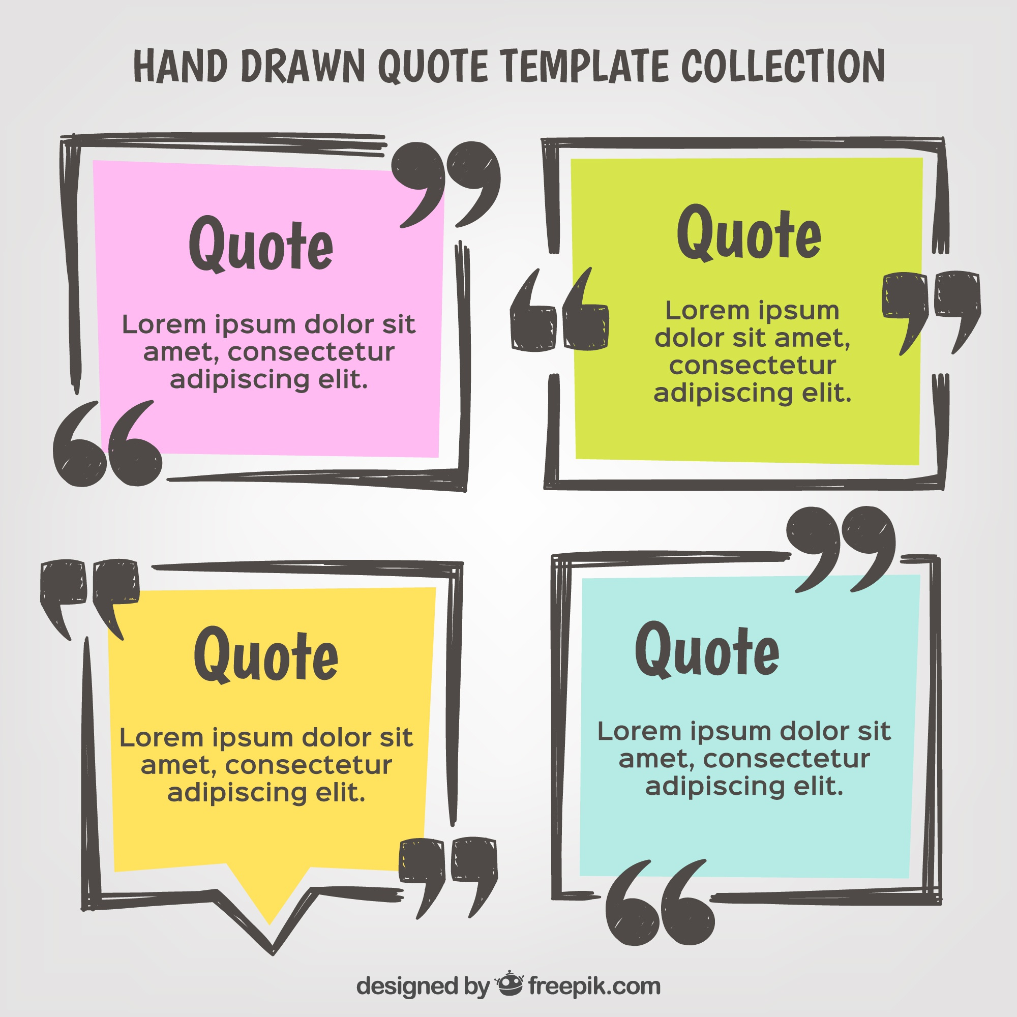 Hand drawn quote template set