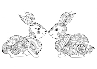 Hand drawn rabbit couple