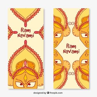 hand drawn ram navami banners