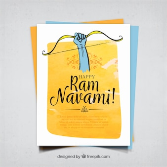 Hand drawn ram navami watercolor greeting