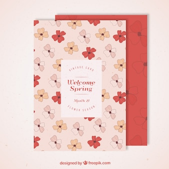 Hand drawn red and pink flowers spring card