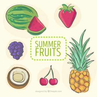 Hand drawn refreshing summer fruits