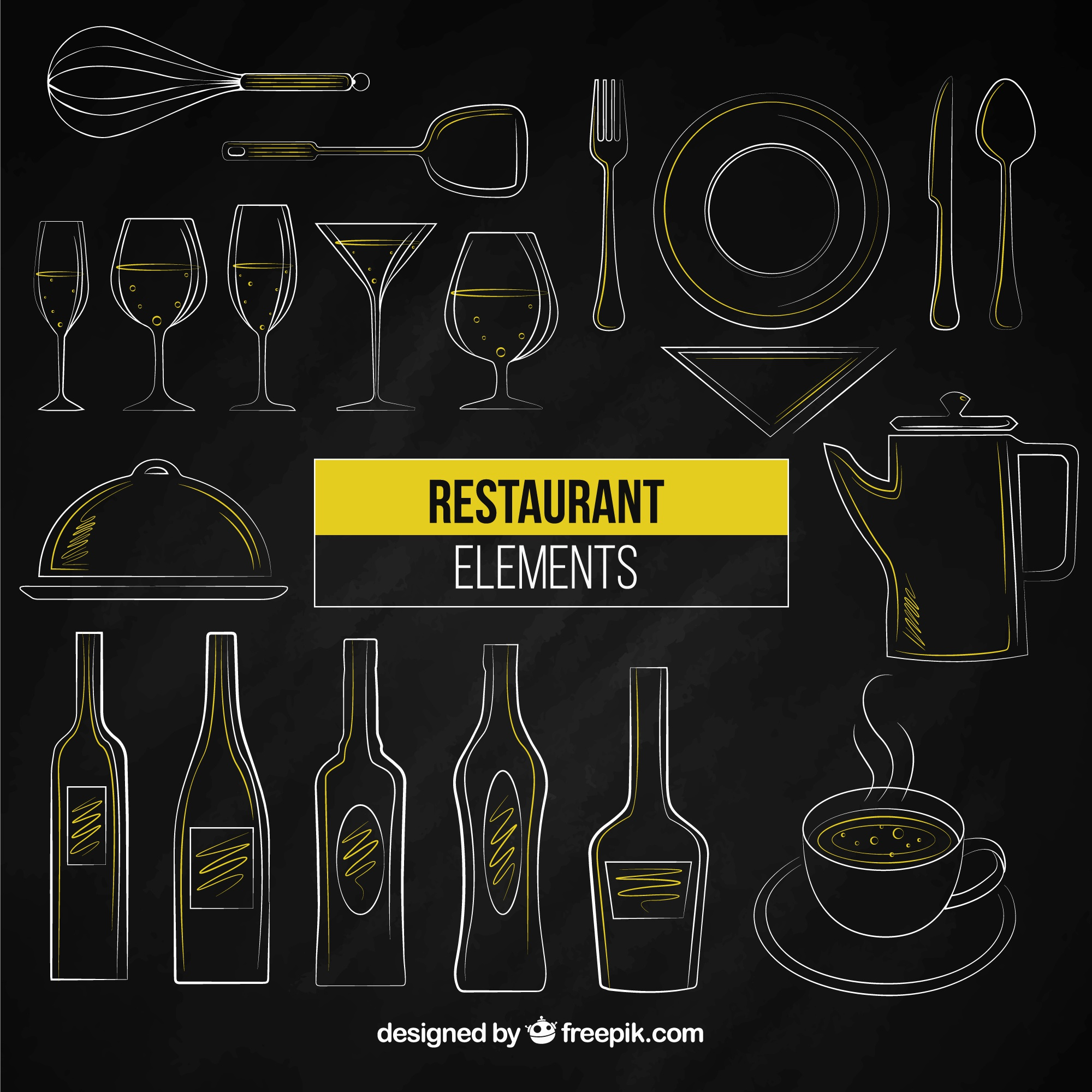 Hand drawn restaurant elements
