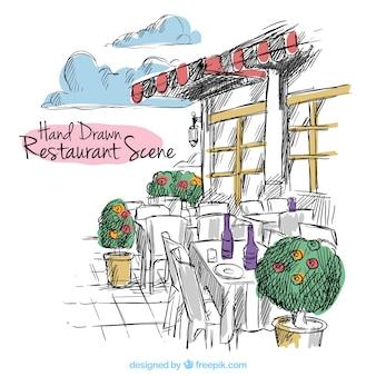 Hand drawn restaurant scene