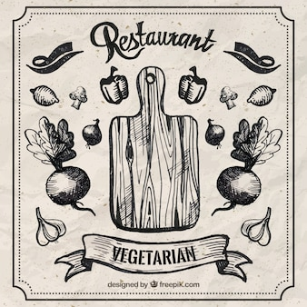 Hand drawn restaurant vegetarian