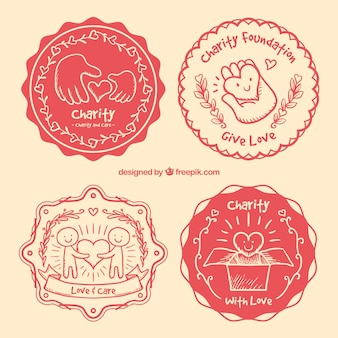 Hand drawn retro badges of charity