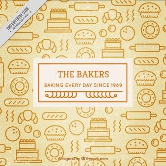 Hand drawn retro bakery elements background