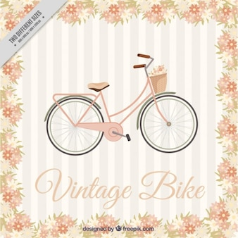 Hand drawn retro bike background with a floral frame