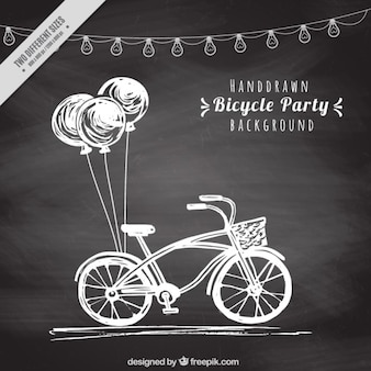 Hand drawn retro bike with balloons background in blackboard effect