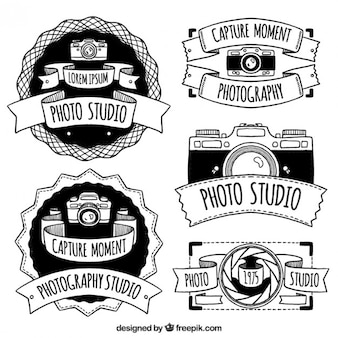 Hand drawn retro camera badges pack