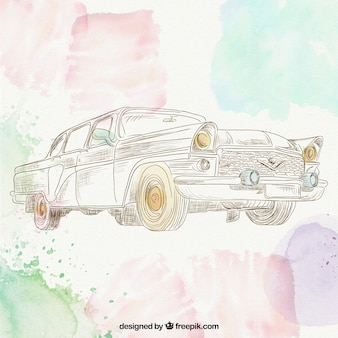 Hand drawn retro car
