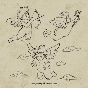 Hand drawn retro cupids