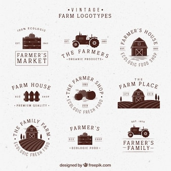 Hand drawn retro farm logotypes