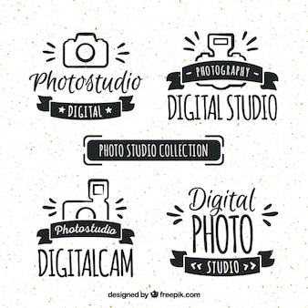 Hand drawn retro photo studio logos