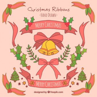 Hand-drawn ribbons ready for christmas