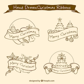 Hand-drawn ribbons with christmas trees