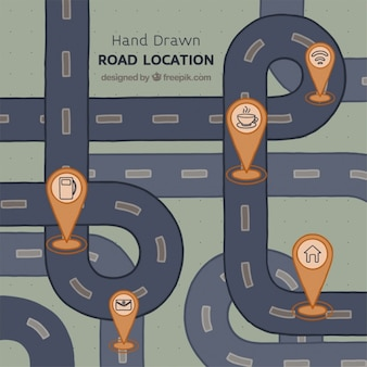 Hand-drawn road map with five landmarks