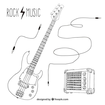 Hand drawn rock music elements