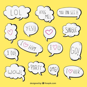 Hand drawn romantic dialogue balloons