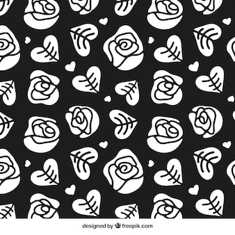 Hand drawn roses and hearts pattern