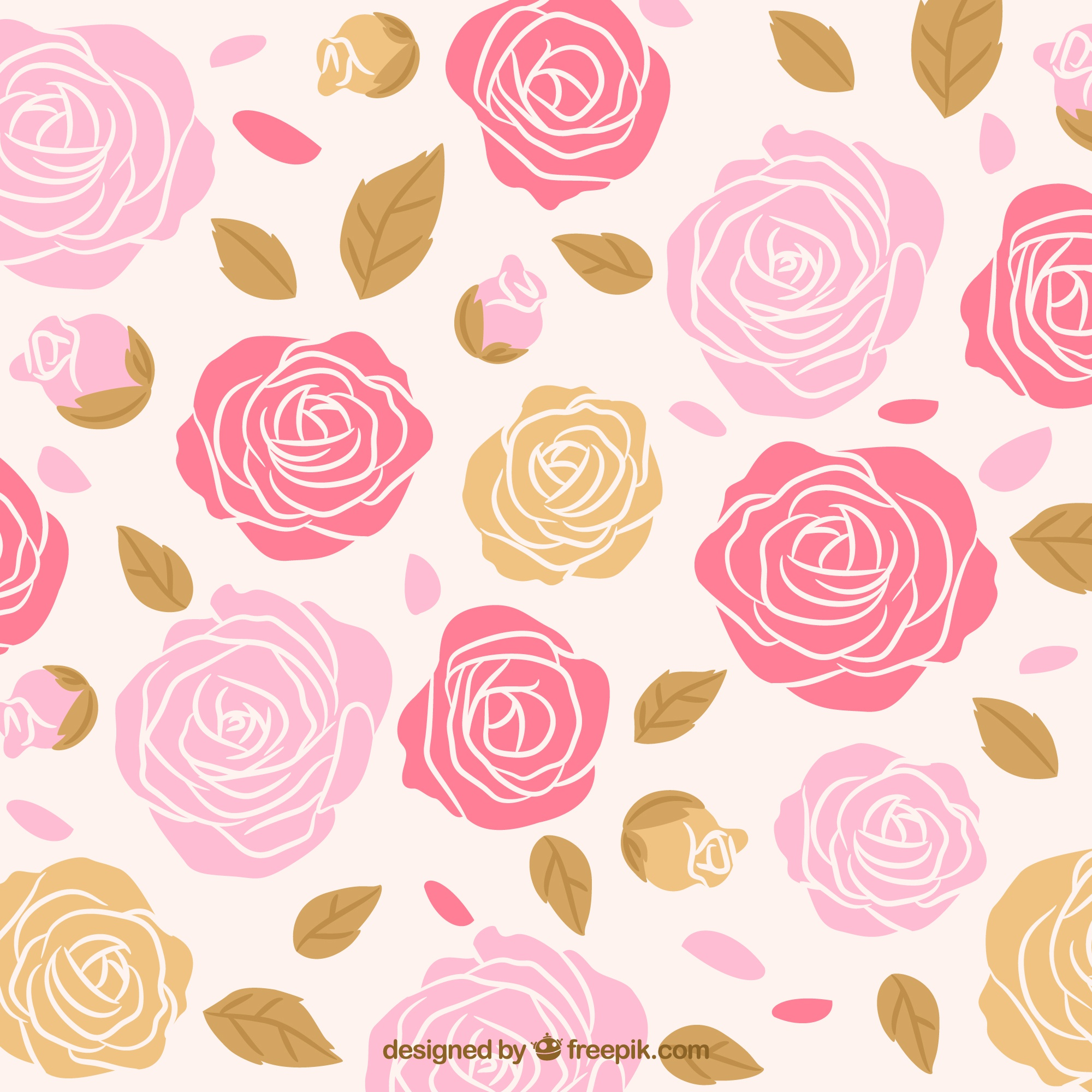 Hand drawn roses background with leaves