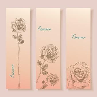 Hand drawn roses banner