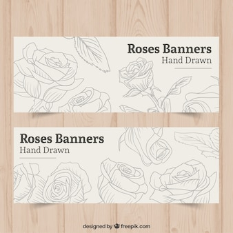 Hand drawn roses banners
