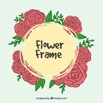 Hand drawn roses frame background