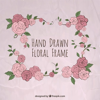 Hand drawn roses frame