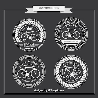 Hand drawn rounded vintage bicycles badges