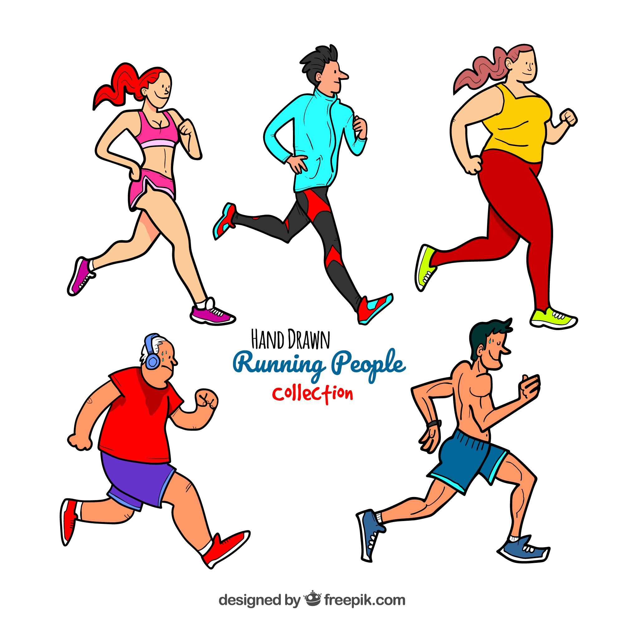 Hand drawn running people collection