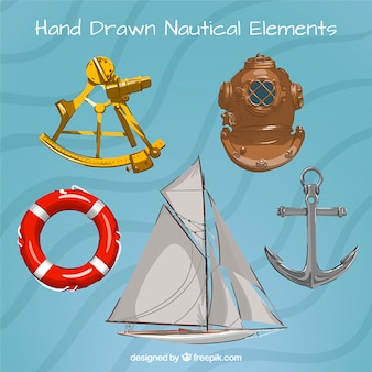 Hand drawn sailing elements