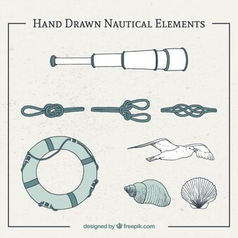 Hand drawn sailing objects