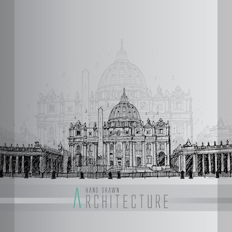 Hand drawn saint peter's square