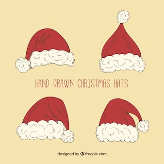 Hand drawn santa claus's hats