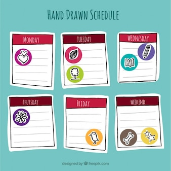 Hand drawn schedule with drawings