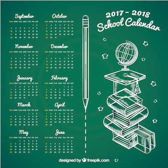 Hand drawn school calendar on blackboard