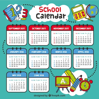 Hand drawn school calendar with fun style