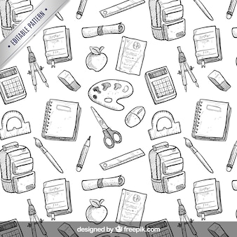 Hand drawn school equipment pattern