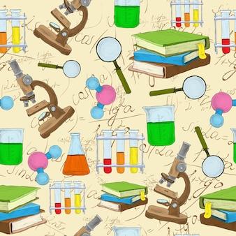 Hand drawn science pattern